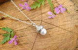 White Pearl Acorn Necklace - Curious Magpie Jewellery - 3