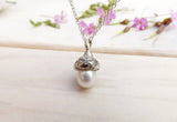 White Pearl Acorn Necklace - Curious Magpie Jewellery - 4