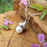 White Pearl Acorn Necklace - Curious Magpie Jewellery - 1