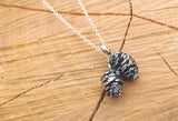 Silver Twin Pinecone Necklace - Curious Magpie Jewellery - 2