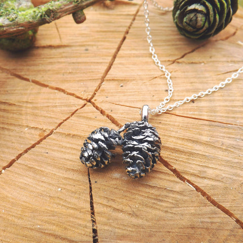 Silver Twin Pinecone Necklace - Curious Magpie Jewellery - 1