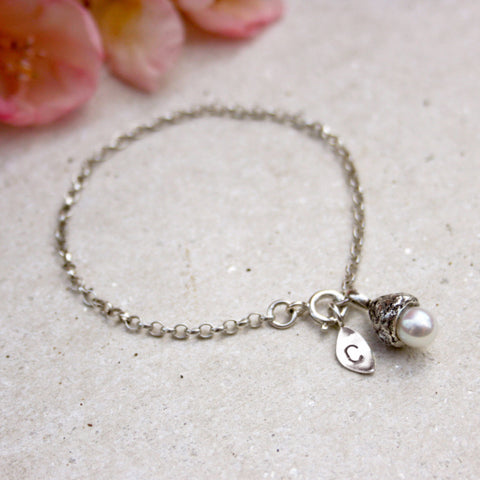 Tiny White Pearl Acorn Initial Bracelet - Curious Magpie Jewellery - 1