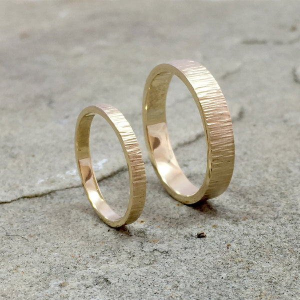 Gold Tree Bark Wedding Rings