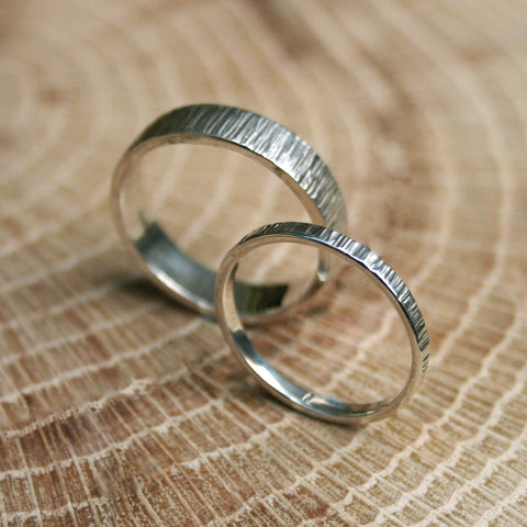 Silver Tree Bark Wedding Rings by Curious Magpie