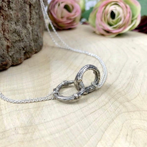 Silver Infinity Twig Necklace by Curious Magpie Jewellery