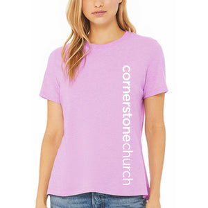 Cornerstone Church Lilac Ladies Tee (Vertical Text)