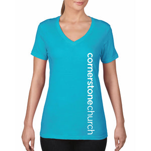 Cornerstone Church Turquoise Ladies V-Neck Tee (Vertical Text)