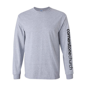 Cornerstone Church Long Sleeve Sports Grey Tee (Vertical Text)