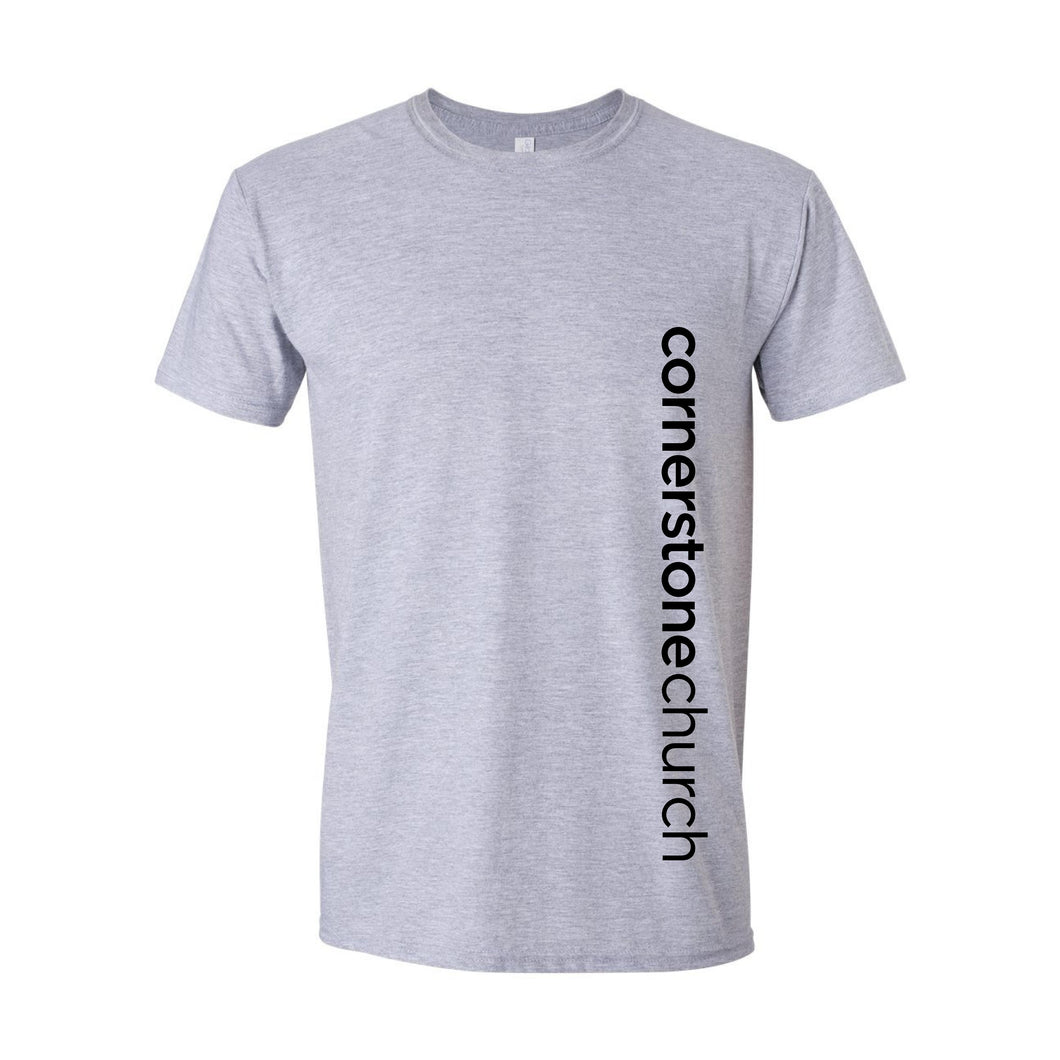 Cornerstone Church Short Sleeve Sports Grey Tee (Vertical Text)