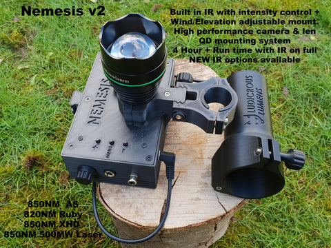 "Nemesis V2  5"" Screen BUILT IN IR with dimmer  820NM or 850NM &940NM + Laser options"