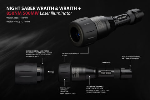 Wraith & Wraith Laser IR+ 850NM 500MW  2x or 3x Lens Rotary intensity control 5-100%