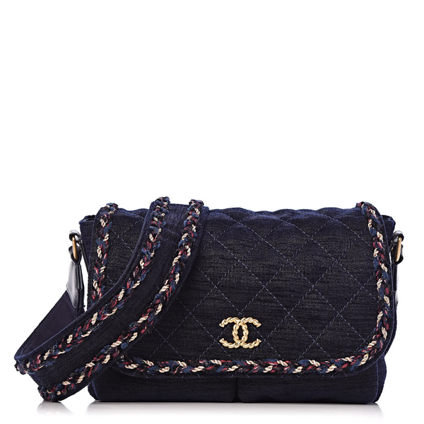 CHANEL Runaway Navy Blue Quilted Velvet Wool Parisian Stroll Messenger Bag ladies