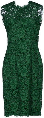 Valentino Green Lace Fitted Dress Bow Detail Dress SO ELEGANT Size XS ladies