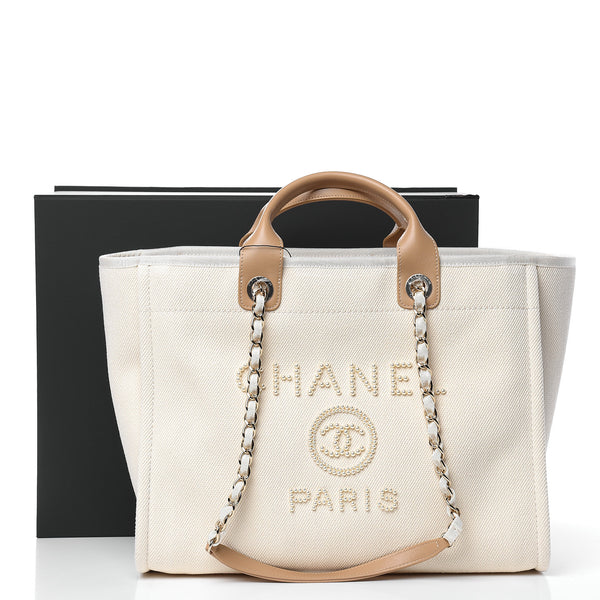 CHANEL 2020 Limited Canvas Pearl Large Deauville Tote Ecru Beige Shopping Bag ladies