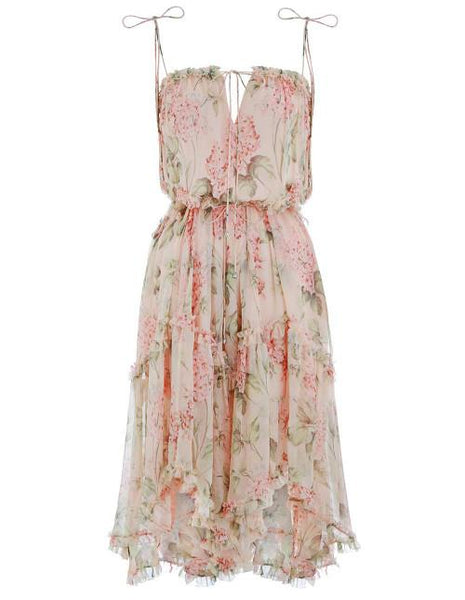 Zimmermann PRIMA HYDRANGEA FLOATING SILK DRESS SIZE 1 ladies