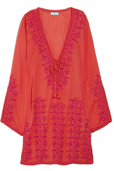 Melissa Odabash Carrie embroidered cotton tunic kaftan cover up  Ladies