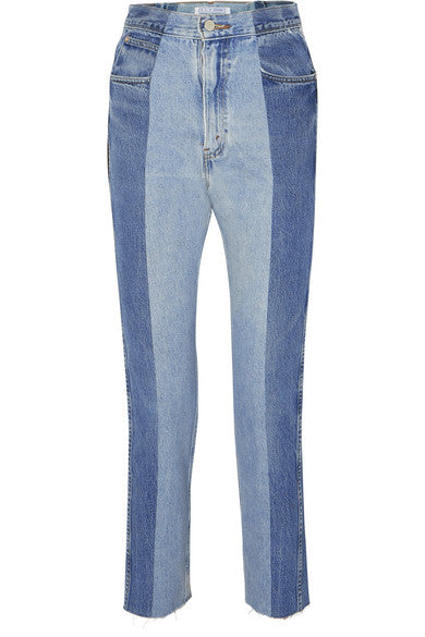 E.L.V. Denim East London Vintage The Twin two-tone high-rise straight-leg jeans LADIES