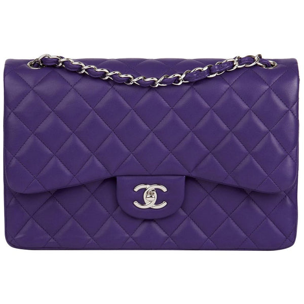 CHANEL Lambskin Quilted Jumbo Double Flap Purple Bag Handbag ladies