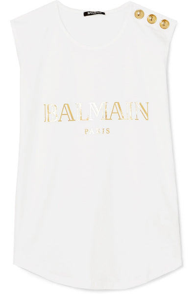 BALMAIN White Button-embellished printed Sleeveless Top T-shirt Ladies