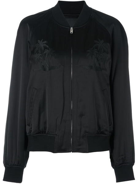 ALEXANDER WANG palm embroidered satin bomber jacket M Medium Ladies