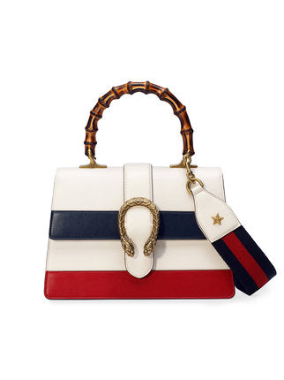 GUCCI Calfskin Medium Dionysus Top Handle Bag White Blue Hibiscus Red Handbag Ladies