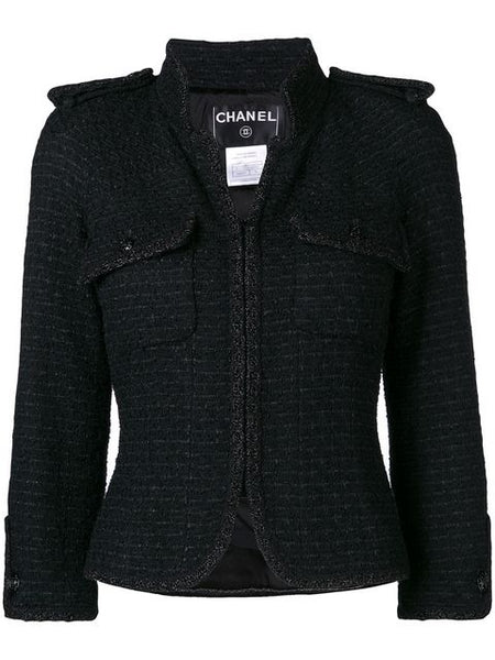 CHANEL black tweed fitted jacket Ladies