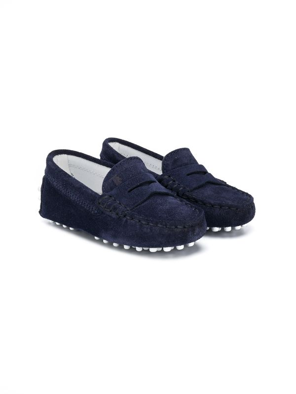 TOD'S KIDS Slip-on Navy Blue Suede Shoes Loafers Moccasins Boys Children
