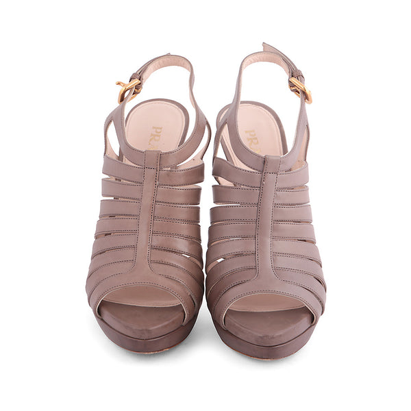 PRADA BEIGE LEATHER MULTISTRAP SANDALS SHOES SIZE 37 1/2 UK 4 1/2 US 7 1/2 LADIES