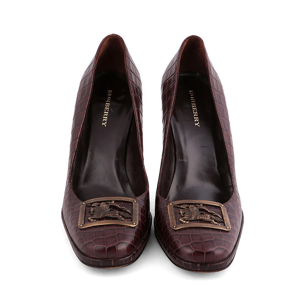 BURBERRY BROWN CROCO PUMPS SHOES PRORSUM BUCKET SIZE 39 1/2 LADIES