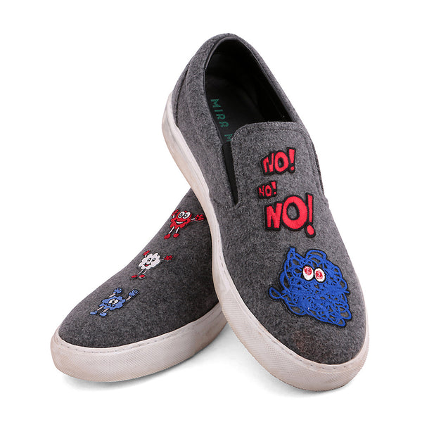 MIRA MIKATI  patched wool slip-on sneakers shoes Size 41 UK 8 US 11 Ladies