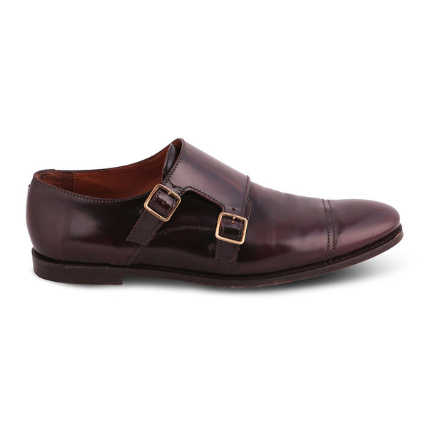 BURBERRY LONDON DOUBLE-MONK STRAP PATENT BROWN LEATHER SHOES SIZE 41 MEN