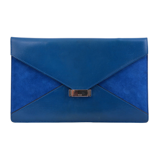 CÉLINE Paris Leather Suede Diamond Clutch Bag Blue Ladies