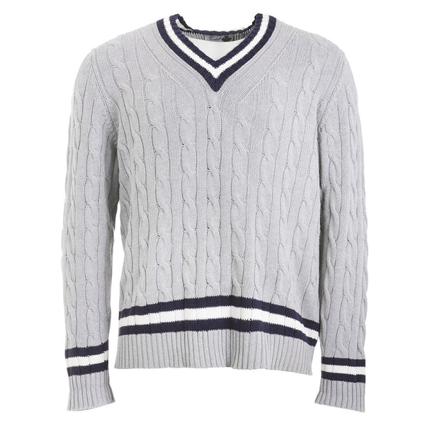 TURNBULL & ASSER London Mens v-neck CABLE KNIT COTTON sweater jumper sz XL MEN