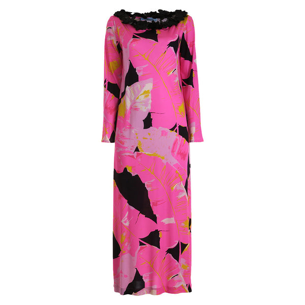 BLUMARINE £3000 PINK ABSTRACT PRINT SILK CAFTAN Kaftan Dress Size I 44 L Large Ladies