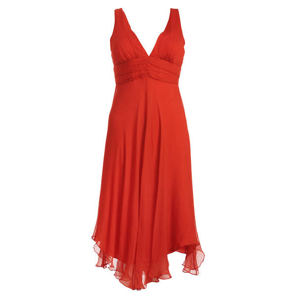 MAX MARA PIANOFORTE ORANGE SILK A-LINE DRESS SIZE I 42 US 6 UK 10 LADIES