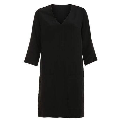 Chloé Black Silk Dress Side Pockets V neck Size F 34  XS/ XXS Ladies