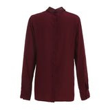 GUCCI Silk Leather-bib Burgundy Blouse Size I 42 Small / Medium Ladies