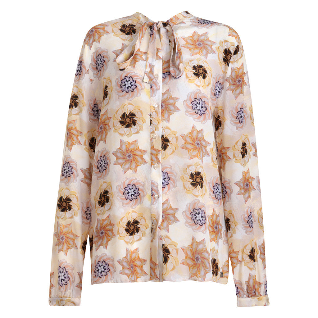 John Galliano Long Sleeve Shirt  Bow Collar Silk Flower Print Size 44 Ladies