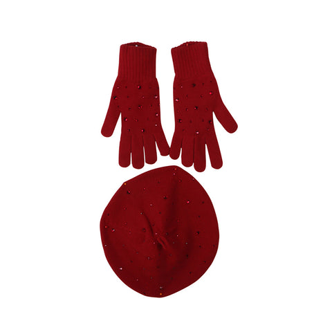 William Sharp Swarovski® crystals CASHMERE BERET WITH MATCHING GLOVES