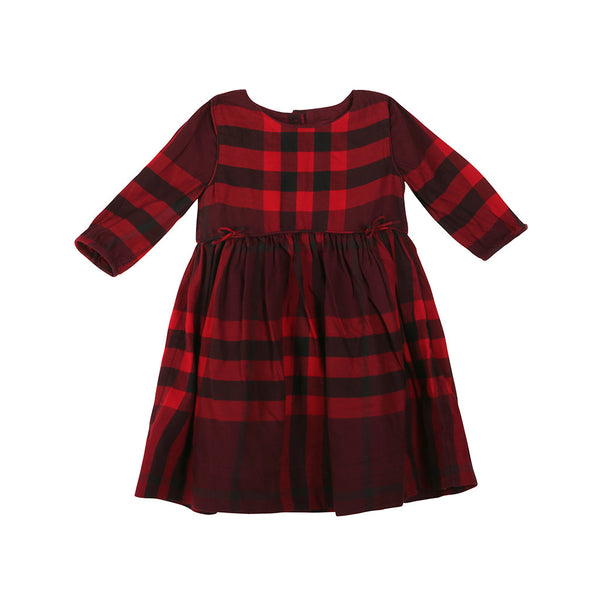 Burberry GIRLS PATTERNED Cotton Check DRESS Size 6 years Children