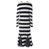 CÉLINE Celine Phoebe Philo CREW NECK NAVY & WHITE INTARSIA STRIPED WOOL DRESS S Ladies