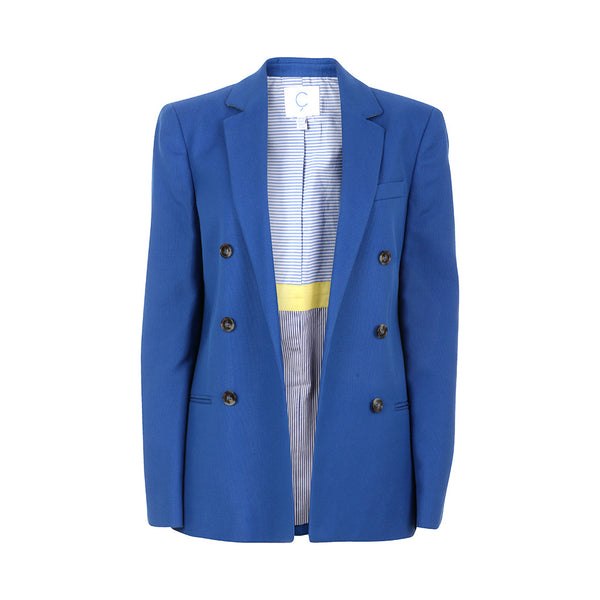 Mira Mikati by Ç Open Front Blue Blazer Jacket Size 40 US 8 Ladies