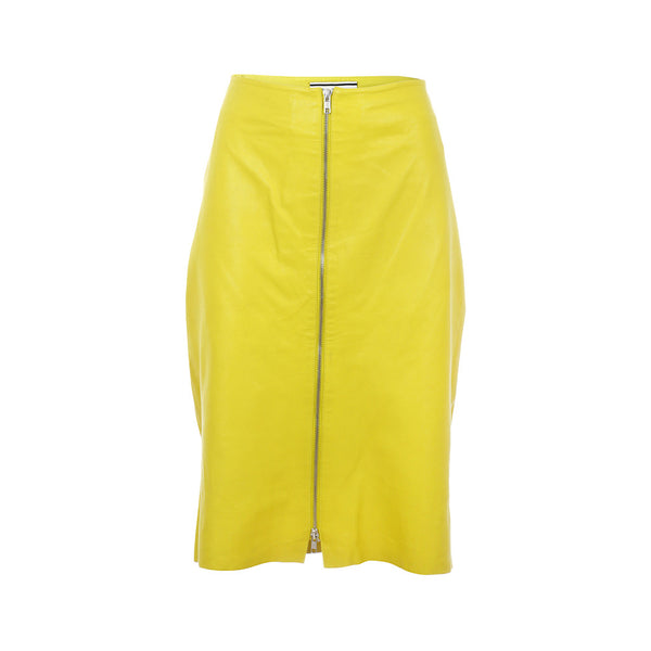 BY MALENE BIRGER ELDIUNA LEATHER  - NEON BRIGHT YELLOW SKIRT SIZE 44 XL LADIES
