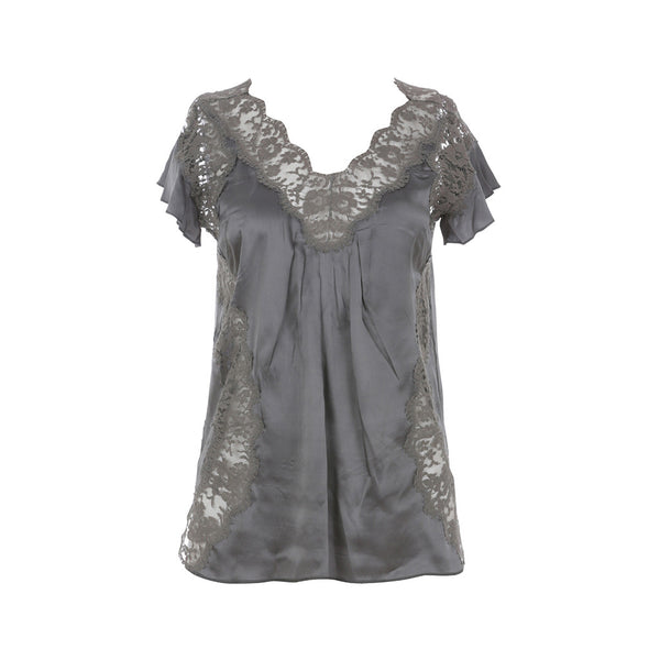 DOLCE & GABBANA SILK LACE-ACCENTED BLOUSE I 36 XS LADIES