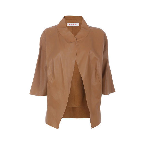 MARNI LEATHER 3/4 SLEEVE VERY LIGHT JACKET coat SIZE F40 L LARGE LADIES
