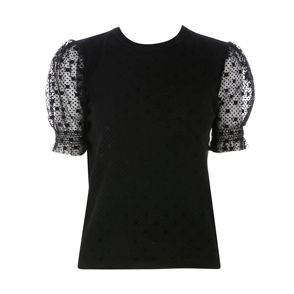 Valentino RED Women's Black Lace Sleeve Top Size L Large Ladies