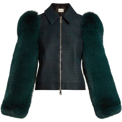 MARY KATRANTZOU Lodger saga fox fur sleeve tulle and wool jacket  Ladies