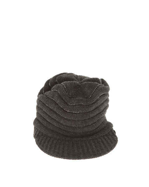 PINKO Black Silver Knitted Cap Hat Ladies