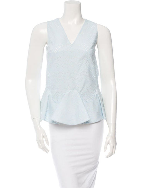 Viktor & Rolf Blue printed cotton sleeveless peplum top Size I 40 UK 8 US 4 2015 Collection  LADIES