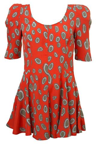 Barbara Hulanicki Topshop Leopard Spot Coral Orange Babydoll Swing Dress LADIES